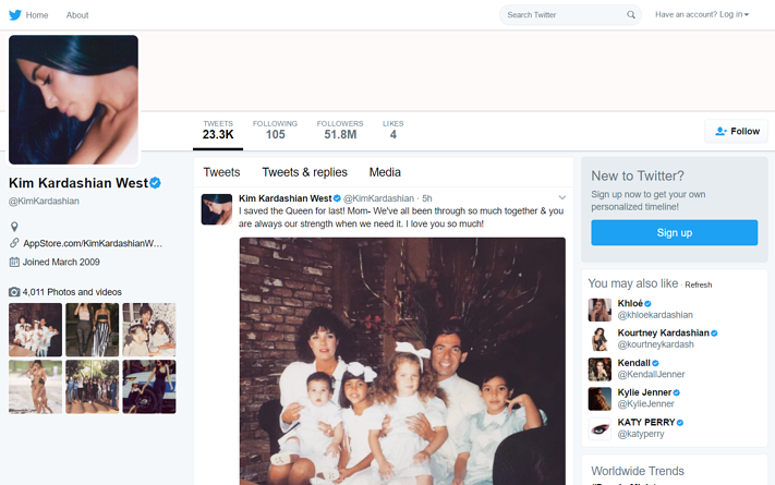 The Kardashian phenomenon screenshot of Kim Kardashian West's Twitter profile.png