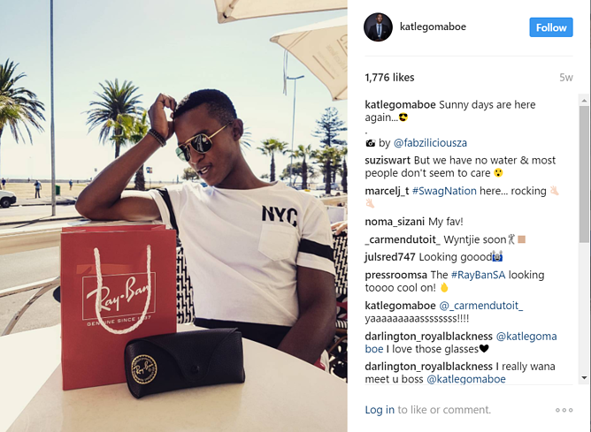 4 South African influencers who show real ROI | Katlego Maboe promoting Rayban sunglasses