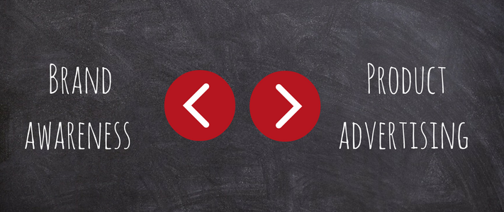 Brand awareness vs. product advertising written on a chalk board