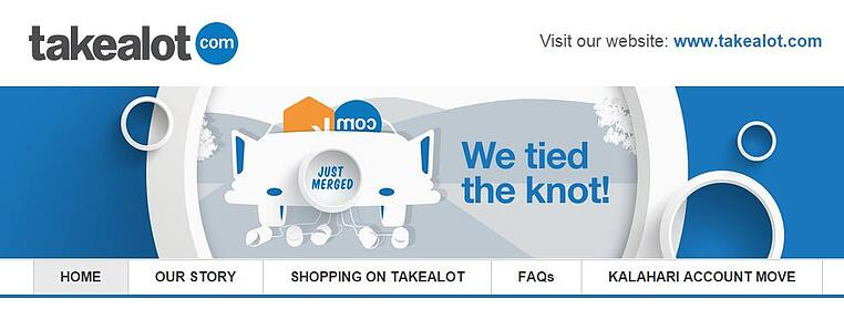 Takealot header website tied the knot Kalahari