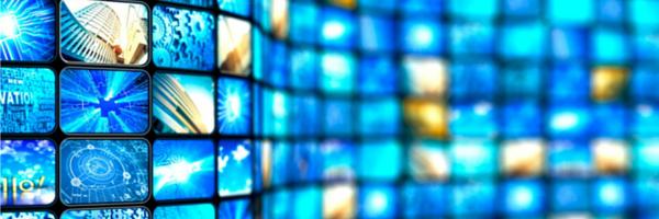Digital technology blue squares