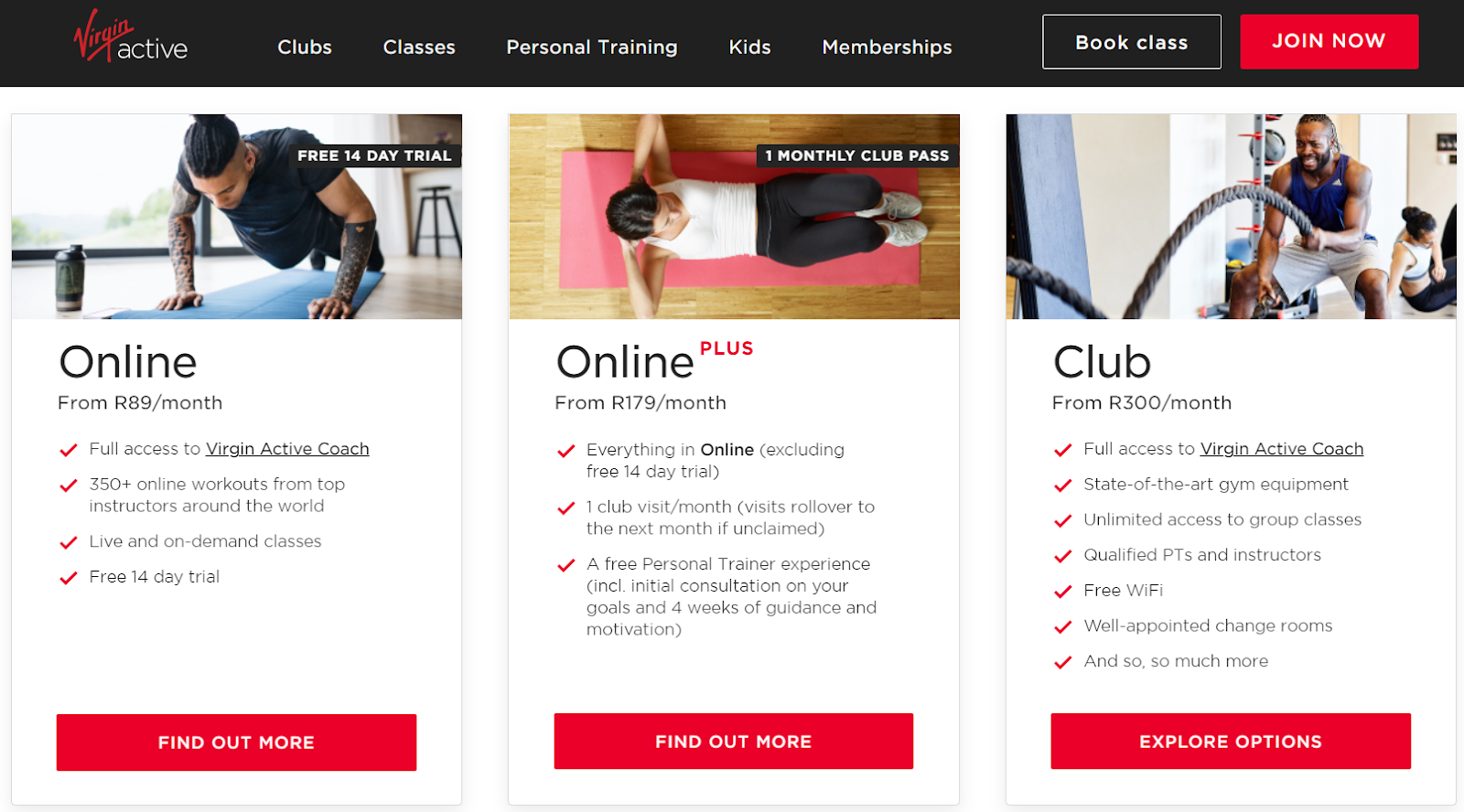 Screenshot of Virgin Active's new packages during COVID-19