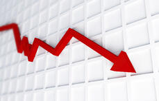Economic downturn arrow graph