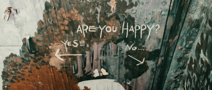 "Graffiti wall which reads ""Are you happy"""