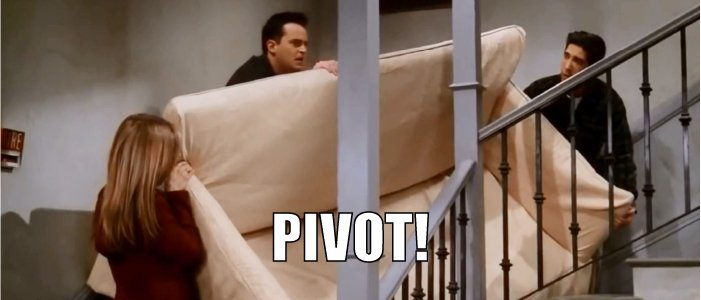 Friends scene with Ross, Rachel and Chandler moving the couch