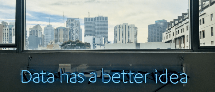 """Data has a better idea"" with city scape in the background"
