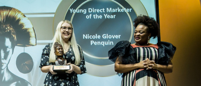 Nicole Glover wins the Young Direct Marketer of the Year at the 2020 Assegai Awards
